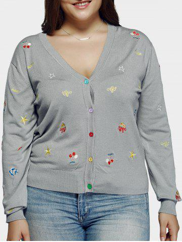 Plus Size Casual Embroidery Single Breasted Cardigan - Light Gray - 3xl