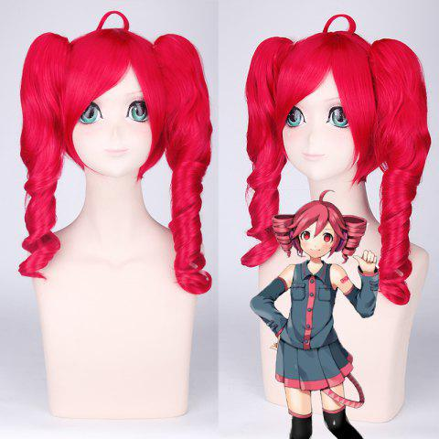 Hot Sweet Red Medium Vocaloid Kasane Teto Cosplay Wig with Curly Bunches RED