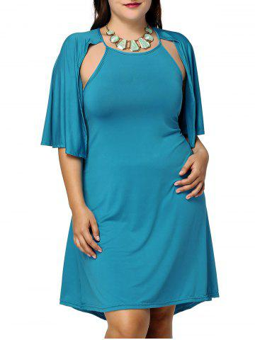 Chic Plus Size Cape Sleeve Solid Color Dress