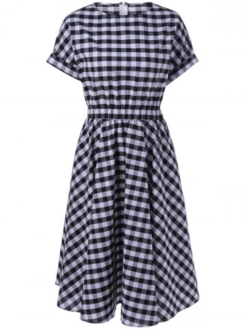 Shop Casual Plaid Print Fit and Flare Dress CHECKED XL