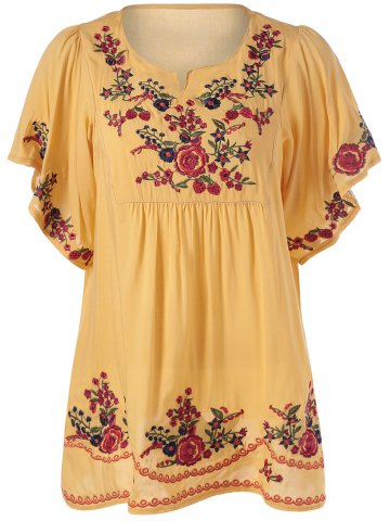 Latest Loose-Fitting Embroidered Short Sleeves Blouse