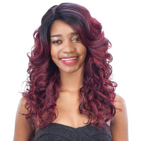 Long Side Parting Curly Black Mixed Wine Red Women's Fashion Synthetic Hair Wig - Colormix