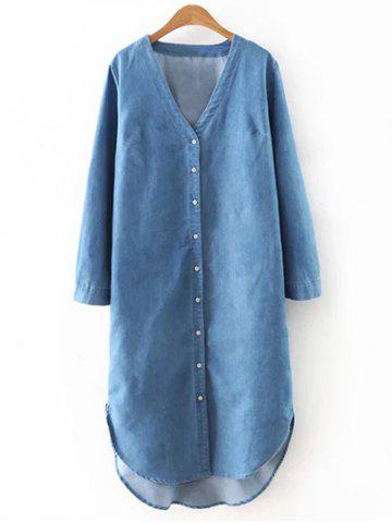 Fashion Casual V-Neck High Low Denim Blouse For Women