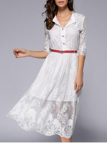 Affordable See-Through Lace Casual Shirt Dress Fall