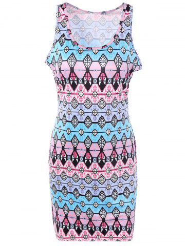 Cheap Casual Geometric Print Sheath Dress