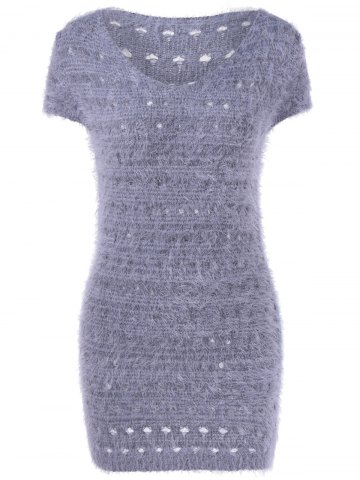 Online Simple Design Women's V-Neck Hollow Out Short Sleeves Sweater Dress