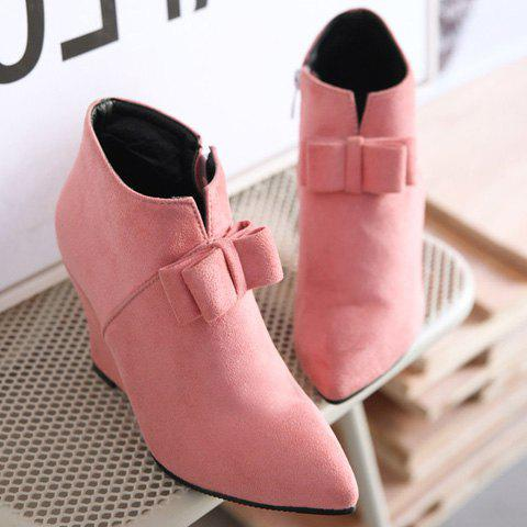 Latest Pointed Toe Bow Wedge Ankle Boots