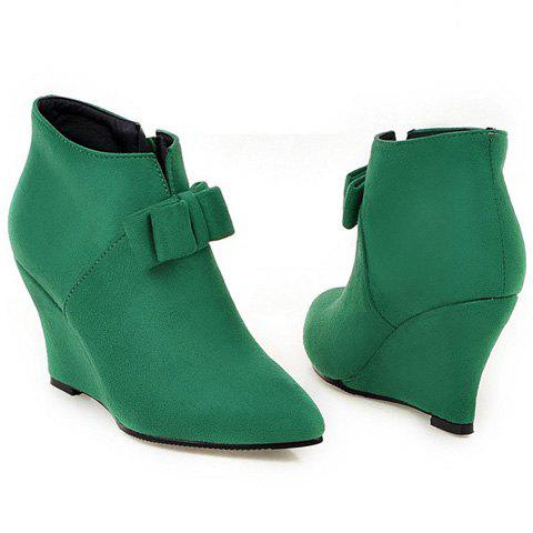 Shops Pointed Toe Bow Wedge Ankle Boots - 37 JADE GREEN Mobile