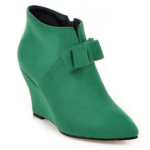 Outfits Pointed Toe Bow Wedge Ankle Boots - 37 JADE GREEN Mobile