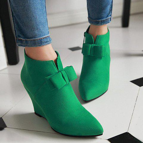Pointed Toe Bow Wedge Ankle Boots - Jade Green - 37