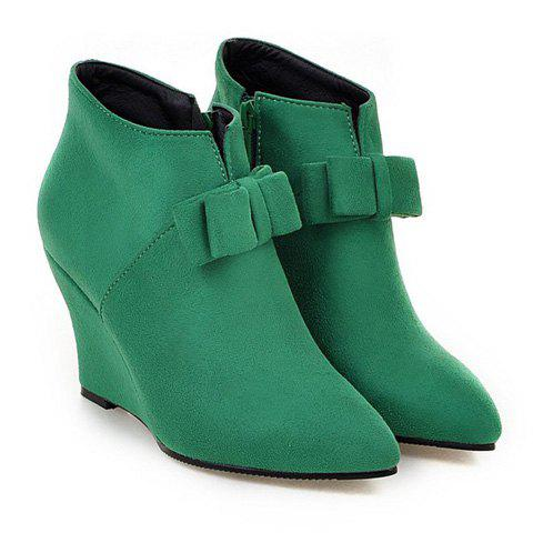 Best Pointed Toe Bow Wedge Ankle Boots - 37 JADE GREEN Mobile