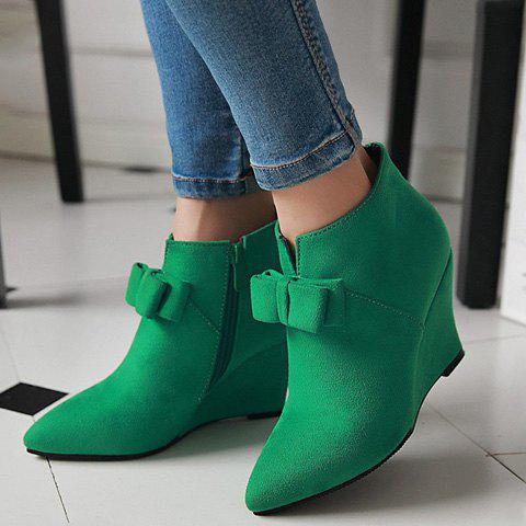 Shop Pointed Toe Bow Wedge Ankle Boots - 37 JADE GREEN Mobile