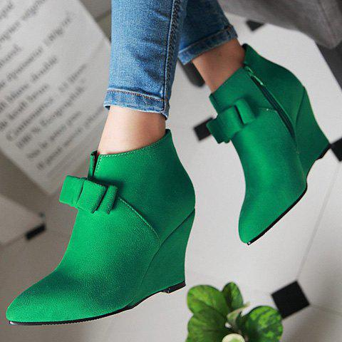 Hot Pointed Toe Bow Wedge Ankle Boots - 37 JADE GREEN Mobile