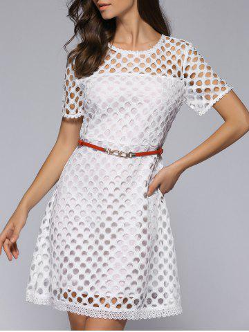 New Sweet Lacework Pure Color See-Through Dress With Belt
