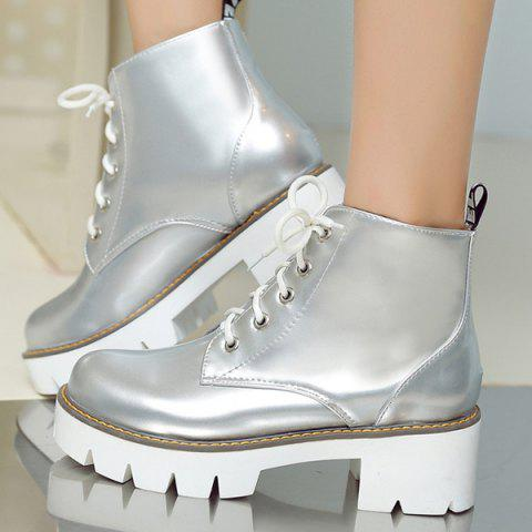 Outfit Eyelets Platform Lace Up Ankle Boots - 39 SILVER Mobile