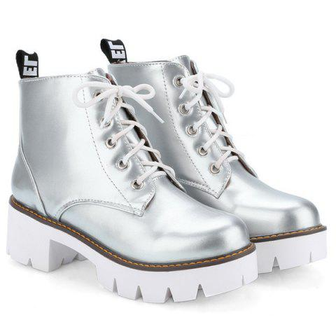 Chic Eyelets Platform Lace Up Ankle Boots - 39 SILVER Mobile
