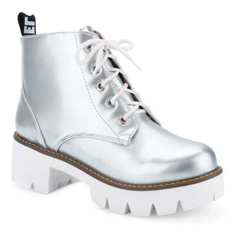Fashion Eyelets Platform Lace Up Ankle Boots - 39 SILVER Mobile