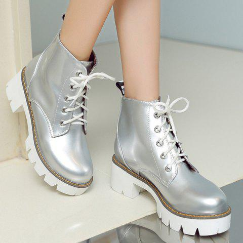Cheap Eyelets Platform Lace Up Ankle Boots - 39 SILVER Mobile