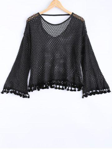 Unique Open Back Crochet Long Sleeves Fringed Sweater