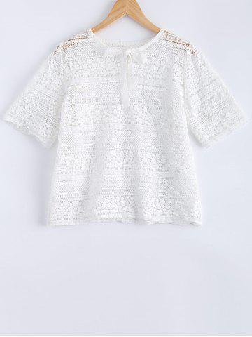 Shops Lace Tie Crochet Short Sleeves Blouse