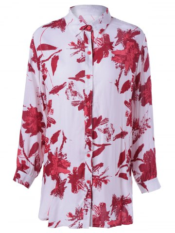 Latest Tropical Print Long Sleeves Boyfriend Shirt
