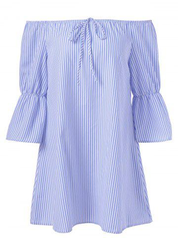 Shop Off The Shoulder Striped Tie Ruffles Sleeves Blouse