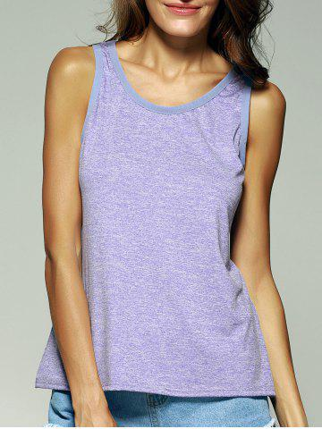 Discount Chic Scoop Neck Splicing Women's Tank Top