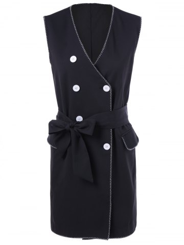 Outfits Pocket Design Double-Breasted Belted Waistcoat