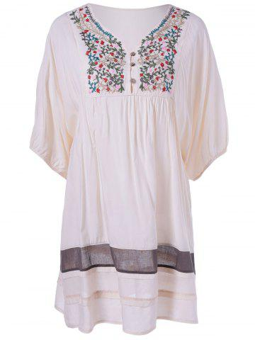 Fashion Ethnic Style V-Neck Embroidered Loose Dress