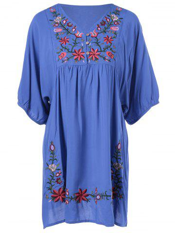 Sale V-Neck Embroidered Ethnic Style Dress