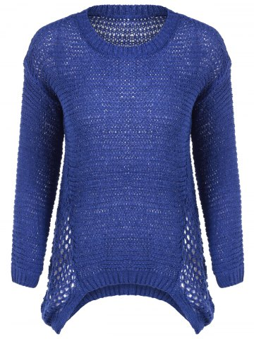 New Scoop Neck Crochet Long Sleeves Pullover Sweater