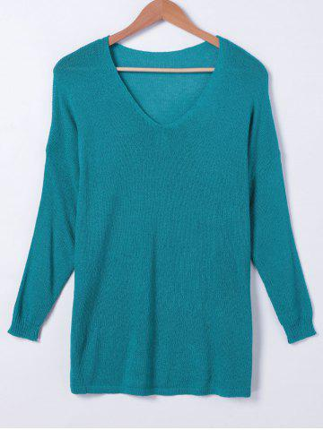 Trendy V Neck Solid Color Long Sleeves Sweater
