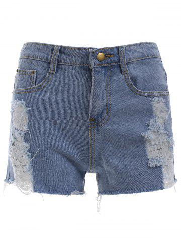 Best Chic Button Fly Ripped Shorts