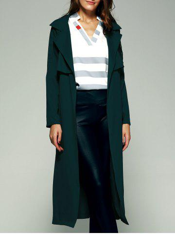 Elegant Belted Flounce Pure Color Maxi Wrap Long Trench Coat - Blackish Green - Xs