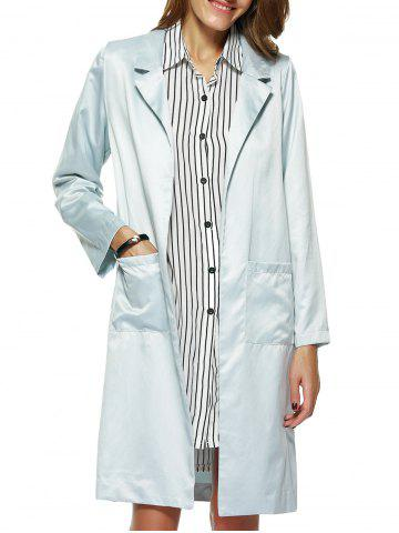 Affordable Retro Pocket Lapel Pure Color Long Trench Coat
