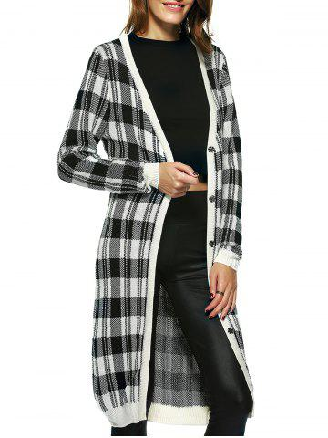 Online Vintage Long Sleeve Plaid Button Up Maxi Cardigan