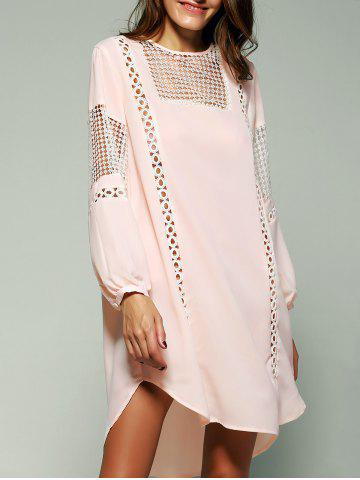 Fashion Bohemian Crochet Trim Lantern Sleeve Asymmetric Dress