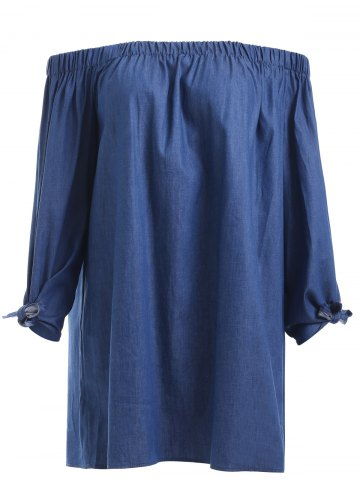 Fancy Brief Women's Off-The-Shoulder Tied Denim Blouse