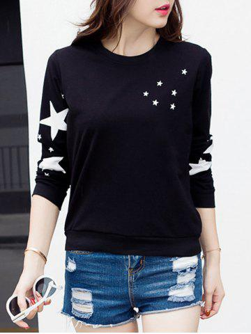 Star Graphic Long Sleeve T-Shirt - BLACK 2XL