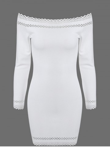 Outfits Long Sleeve Mini Bodycon Off The Shoulder Dress WHITE L