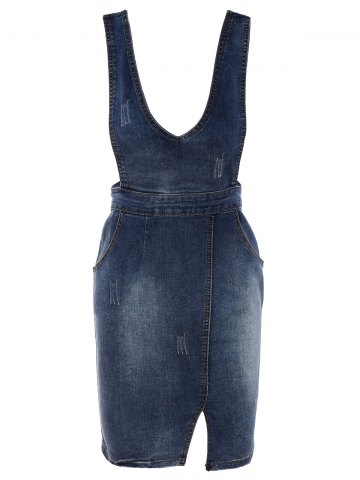 Store Simple Women's Bleach Wash Slit Denim Suspender Dress