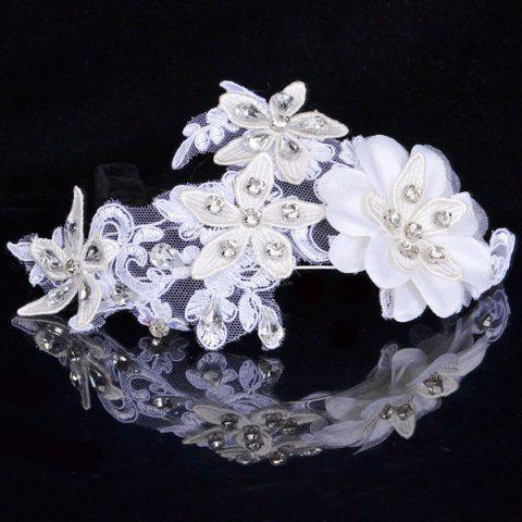 Affordable Graceful Floral Wedding Jewelry Hairband For Women - WHITE  Mobile