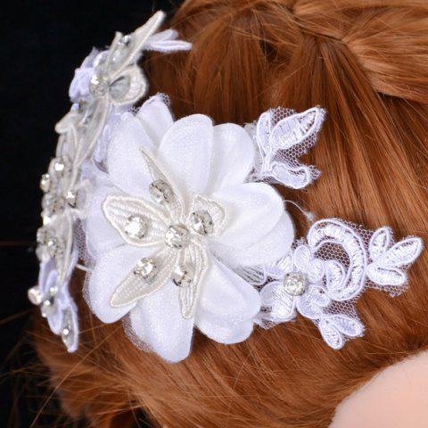 Latest Graceful Floral Wedding Jewelry Hairband For Women - WHITE  Mobile