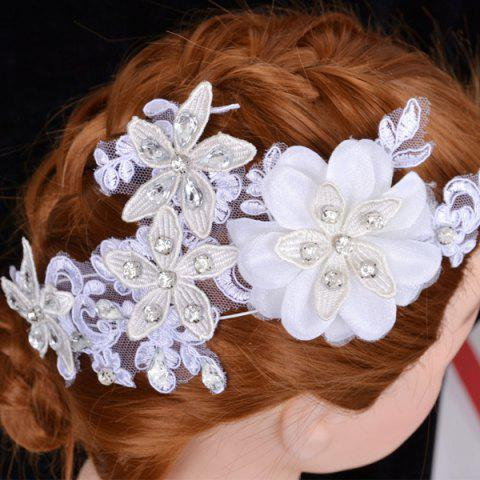 Chic Graceful Floral Wedding Jewelry Hairband For Women WHITE