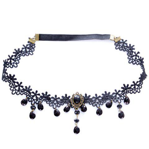Sale Vintage Water Drop Forehead Chain For Women - BLACK  Mobile