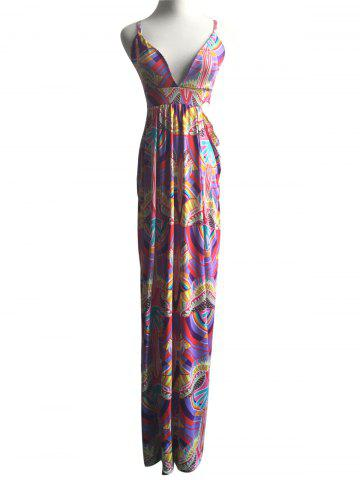 Latest Exotic Colorful Print Hollow Out Strappy Dress