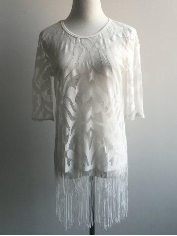 Affordable See-Through Tassel Embellished Blouse