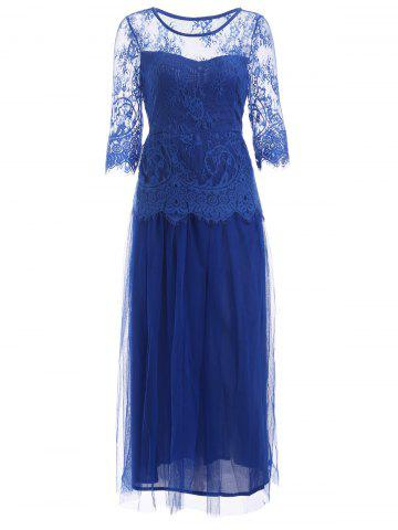 Lace Panel Long Prom Wedding Guest Tea Length Dress - Blue - M