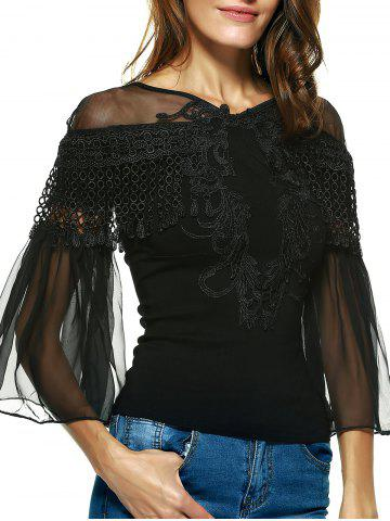 Best Graceful Women's Bell Sleeves Embroidered Mesh Spliced Blouse