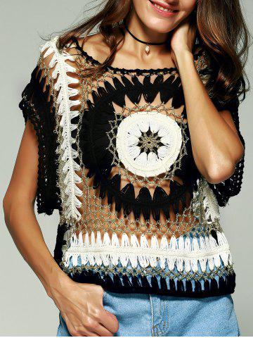Discount Chic Women's Crochet Batwing Sleeves Blouse